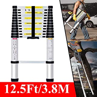 Telescopic Ladder, Extension Ladder 12.5Ft, Compact Ladder, Adjustable Portable 3.8M Extendable Aluminum Folding Collapsible Lightweight Ladder w/Locking Hinges 330lbs Capacity En131
