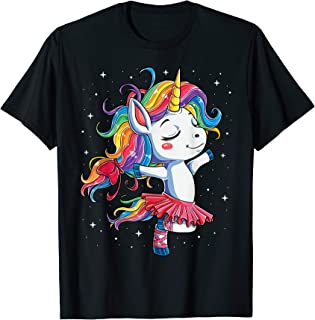 Ballet Dancer Unicorn T shirt Kids Girls Rainbow Ballerina