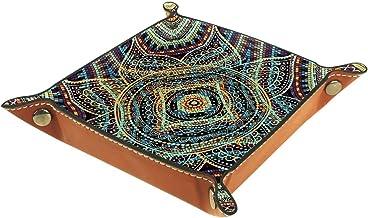 KAMEARI Skórzana taca boho kwiat geometryczny wzór klucz telefon moneta pudełko skóra bydlęca taca na monety praktyczne pu...