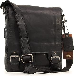 Ashwood Messenger Bag - Laptop/iPad A4 Size - Cross Body/Shoulder/Work Bag - Genuine Leather - 8342 - Black