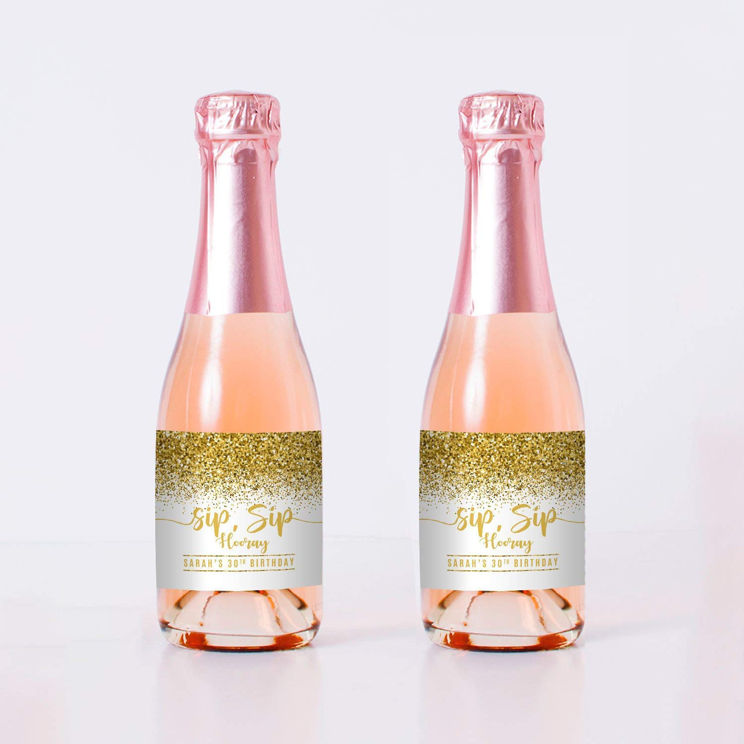Sip Hooray Birthday Mini Champagne Labels NEW before Super sale period limited selling GOLD - Bottle se