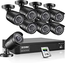 ZOSI Home Security Camera System Outdoor Indoor, 8 Channel 1080P Lite/720p CCTV DVR with 1TB HDD and (8) HD 1.0MP Surveillance Cameras