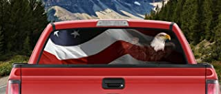M22 Waving American Flag Patriotic Bald Eagle Full Color Back Window Graphic Decal Truck Backscape 66 X 20 Inches