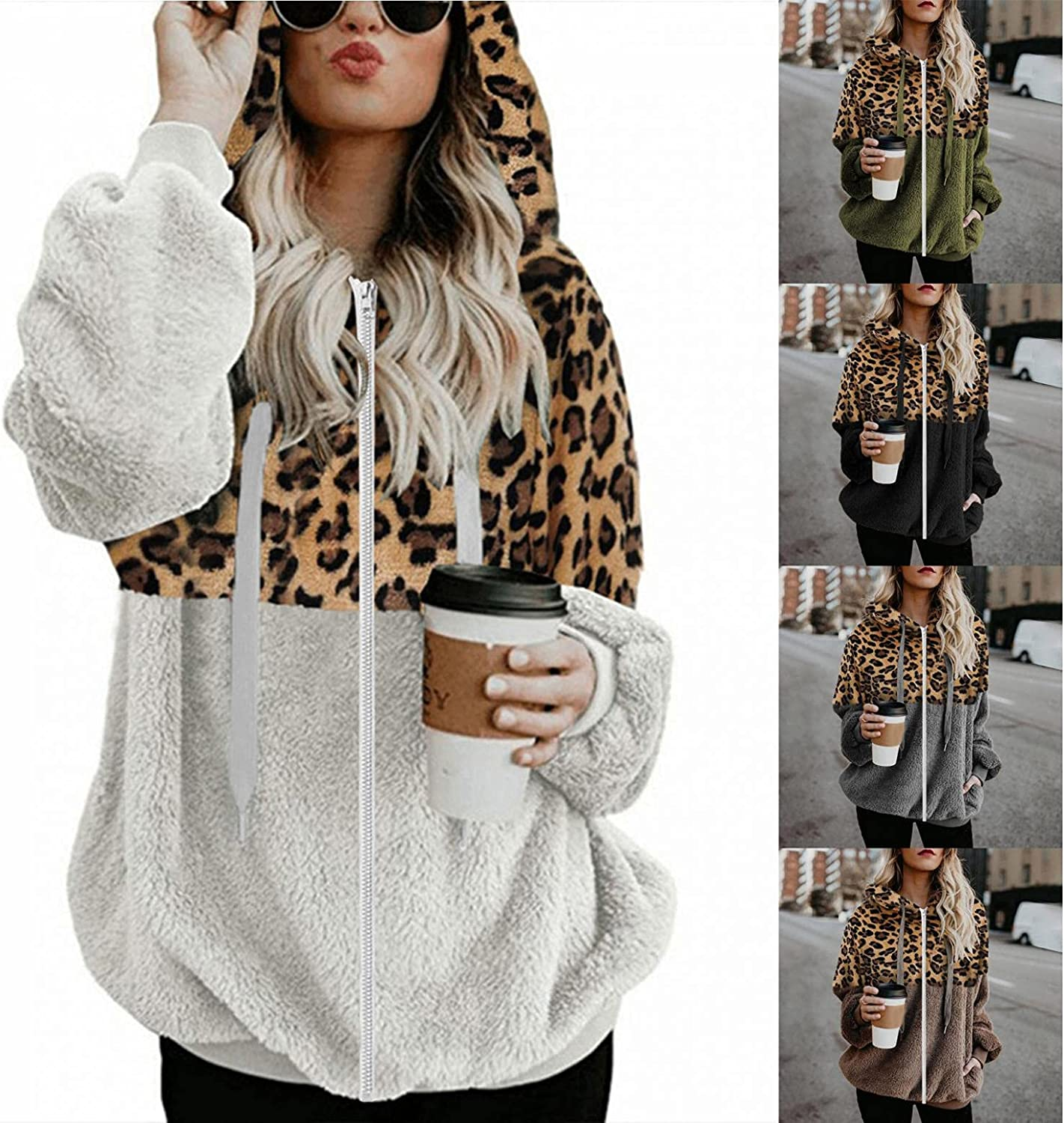 felwors Hoodies for Women, Womens Oversized Double Fuzzy Warm Casual Pullover Hooded Outwear Sweatshirt with Pockets