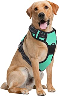 PAWABOO Dog Harness, No Pull Pet Vest Harness Adjustable Reflective Oxford Soft Padded Easy Control Handle for Outdoor Walking, Suitable for Small, Medium, Large Dogs
