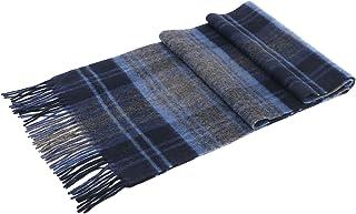 ANDORRA Men's Winter Cashmere Plaid Scarf w/ Gift Box, Blue & Gray Plaid