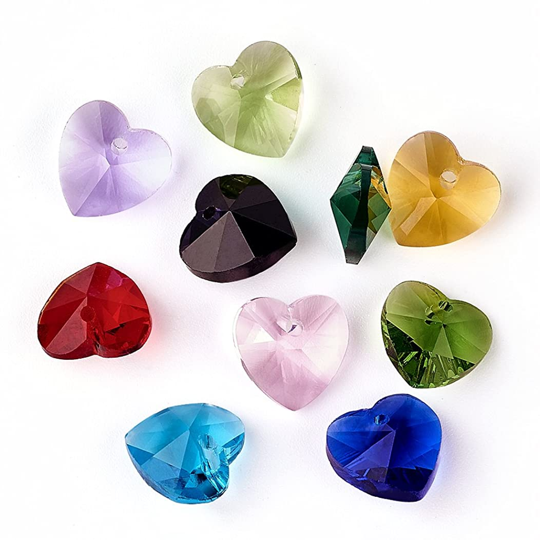 Craftdady 50PCS Mixed Color Handmade Faceted Heart Glass Pendants Charms Loose Bead for Bracelets Necklace Jewelry Making Findings