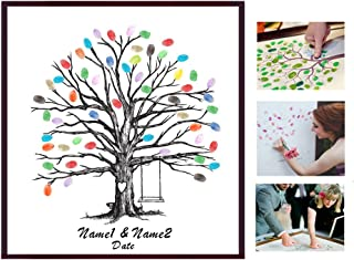 Poitemsis Fingerprint Family Members Tree Canvas Thumbprint Tree Template For Weddding Guestbook Sign Alternative Kids Gifts Teacher Appreciation