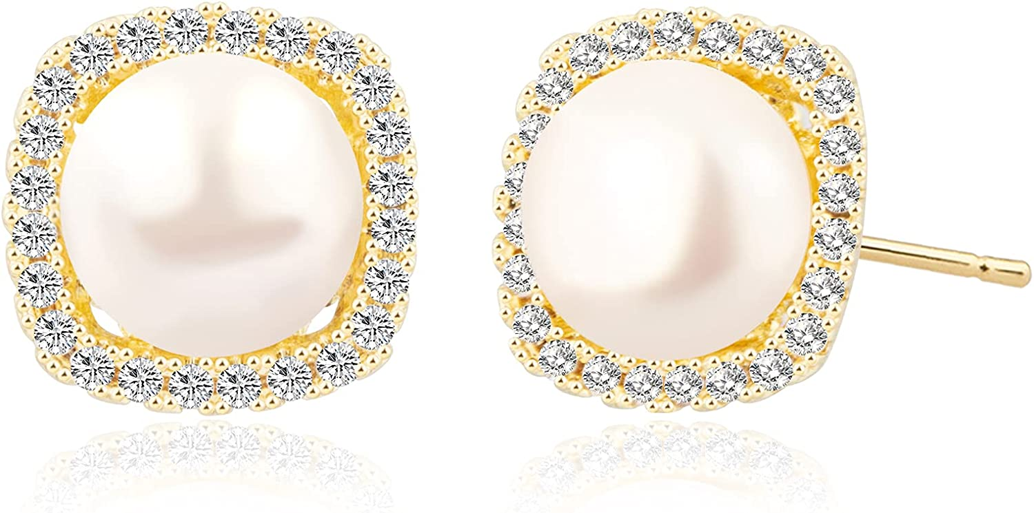 Cecillia Pearl Earrings for Women Imitation Round Pearl Studs Earring Pearl Button Stud Crystal Pearl Wedding Earring Jewelry