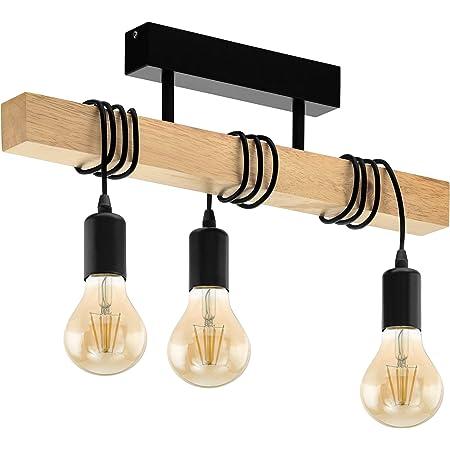 EGLO Lampe de plafond TOWNSHEND 3, plafonnier vintage à 3 flammes au design industriel, suspension rétro en acier et en bois, couleur : noir, marron, douille : E27