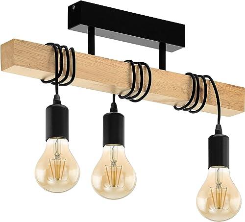 Eglo Lampe de Plafond Townshend 3, Plafonnier Vintage à 3 Flammes au design Industriel, Suspension Rétro en Acier et ...