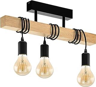 EGLO Lampe de Plafond Townshend 3, Plafonnier Vintage à 3 Flammes au Design Industriel, Suspension Rétro en Acier et en Bo...