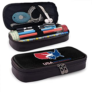 USA America Wrestling Logo Pencil Case Pen Bag Pouch Holder Makeup Bag for School Office College