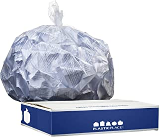 """Plasticplace 12-16 Gallon Trash Bags │ 8 Microns │ Clear High Density Liners │ 24"""" x 33'' (1000 Count)"""