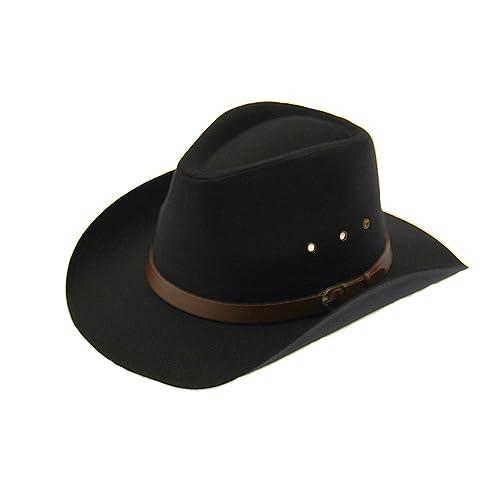 d610fa9e570 Wrapeezy Black 100% Cotton Wide Brim Mens Cowboy Hat Womens Large Medium  Small Western Fedora