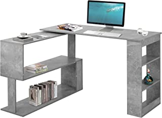 Hoekbureau computertafel hoekbureau bureautafel gaming tafel, 360 graden rotatie, open planken voor opslag (grijs)