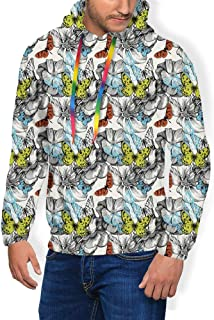 GULTMEE Men's Hoodies Sweatershirt, Repetitive Abstract Moth Insects in Vintage Design Spring Animal Print,5 Size