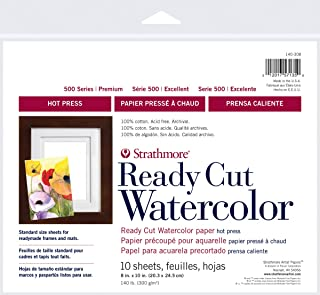 Strathmore 500 Series Hot Press Ready Cut Watercolor Sheet Pack, 8 x 10