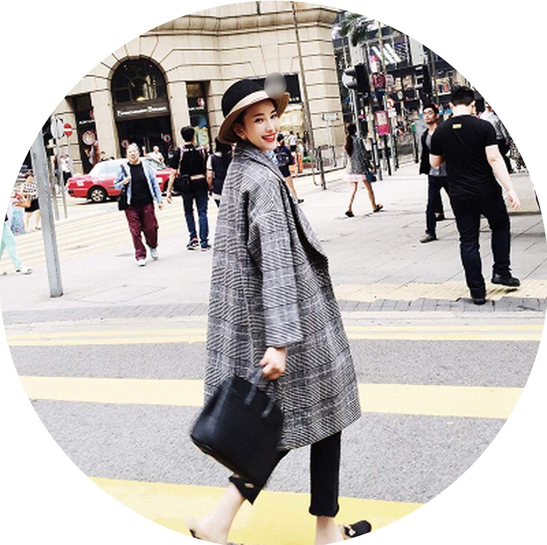 Souieyshop Winter Woolen Coat Ladies Casual Pocket Button Parkas Fashion Warm Jacket