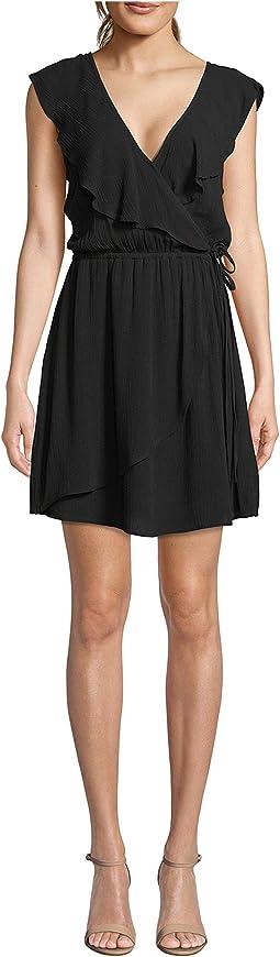 Crinkle Rayon Faux Wrap Dress
