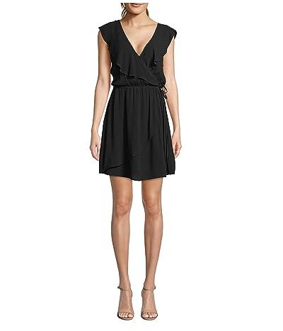 Jack by BB Dakota Crinkle Rayon Faux Wrap Dress (Black) Women