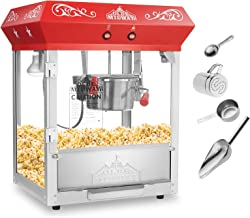 Olde Midway Bar Style Popcorn Machine Maker Popper with 6-Ounce Kettle - Red