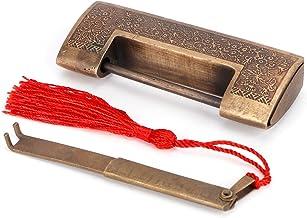 Koperen slot antieke Chinese oude stijl delicate gesneden hangslot voor sieraden doos huwelijksgeschenken(5cm spacing)