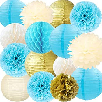 NICROLANDEE Blue and Gold Party Decorations Tissue Pom Poms