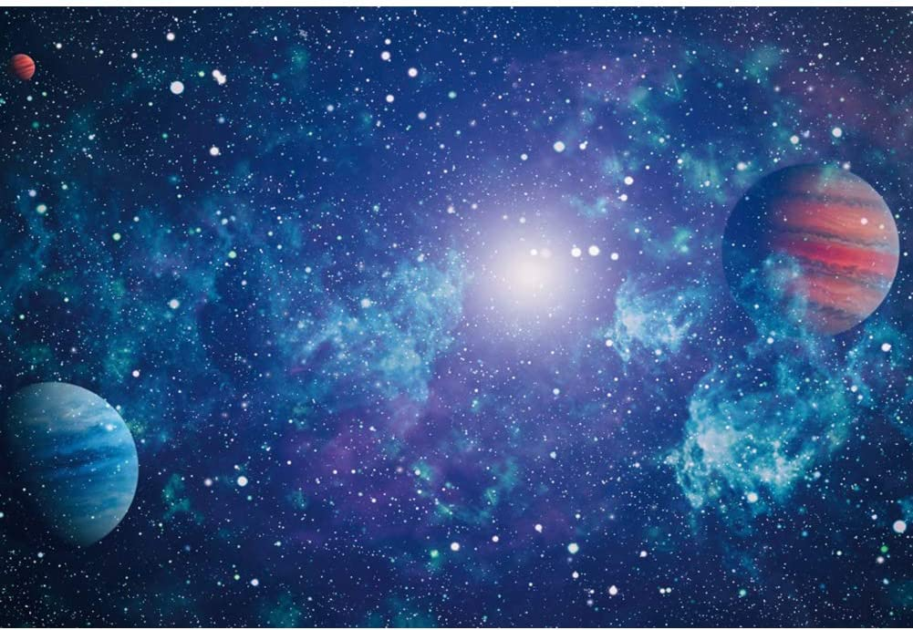 Outer Space 10x15 FT Photo Backdrops,Odd Alien Celestial Body with Small Planets Fantastic Hero Super Powers Image Background for Party Home Decor Outdoorsy Theme Vinyl Shoot Props Multicolor