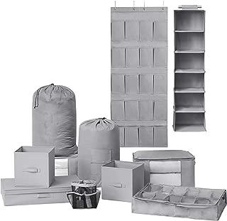 DormCo 10PC Complete Organization Set - TUSK Storage - Gray