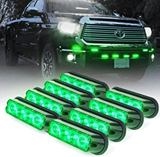Xprite Green 4 LED 4 Watt Emergency Vehicle Waterproof Surface Mount Deck Dash Grille Strobe Light Warning Police Light Head with Clear Lens - 8 Pack