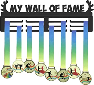 GENOVESE Sport Medal Display Rack,Medals Hanger,My Wall of Fame Trophies Holder,Black Metal Medal Holders,Awards Hook