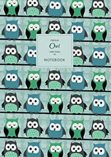 Owl Notebook - Lined Pages - A4 - Premium: (Mint Edition) Fun Notebook 192 lined pages (A4 / 8.27x11.69 inches / 21x29.7cm)