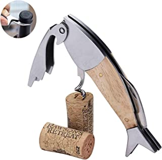 Korkenzieher mit Griff aus exotischem Holz 20cm aufgeklappt orkenzieher mit Flaschen/öffner Schwarze Lederetui LAGUIOLE Sommelier Messer Edelstahl