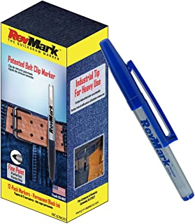 12-Pack of RevMark Industrial Permanent Marker with Patented Holster Cap, Fine Point, Blue Ink, Made in the USA