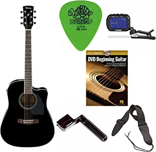 Ibanez PF15ECE PF Acoustic-Electric Cutaway Guitar (Black) + Free DVD, Guitar Pics, Strap, Winder and Tuner
