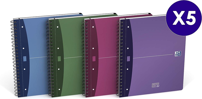 Oxford 100104486 European Book Book Book A4 kariert 5er Pack mit vier Farben 120 Blatt mit Register, Doppelspiral und flexiblen Kunststoff-Cover B007W165XQ   Verschiedene Stile und Stile  799562