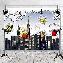 XSMY 7x5ft Vinyl Superhero Party Photography Backdrop-Newborn Baby Shower City Photo Background Booth Studio Props (Superhero Party)