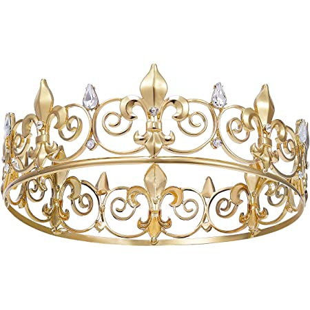 SWEETV Royal King Crown for Men - Metal Prince Crowns and Tiaras, Full Round Birthday Party Hats, Medieval Costume Accessories for Prom Wedding Halloween, Gold