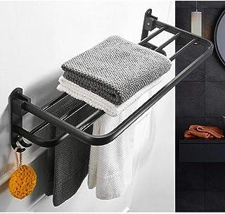 Matt Black Bathroom Double Towel Rack Rail 2 Shelf Wall Mounted Hook B5A4