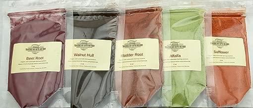 Natural soap colorants Sampler - 5oz - for Soap Making and Cosmetics. Beet root, Black walnut hull,Madder root, Alfalfa, Safflower. Soap making supplies.
