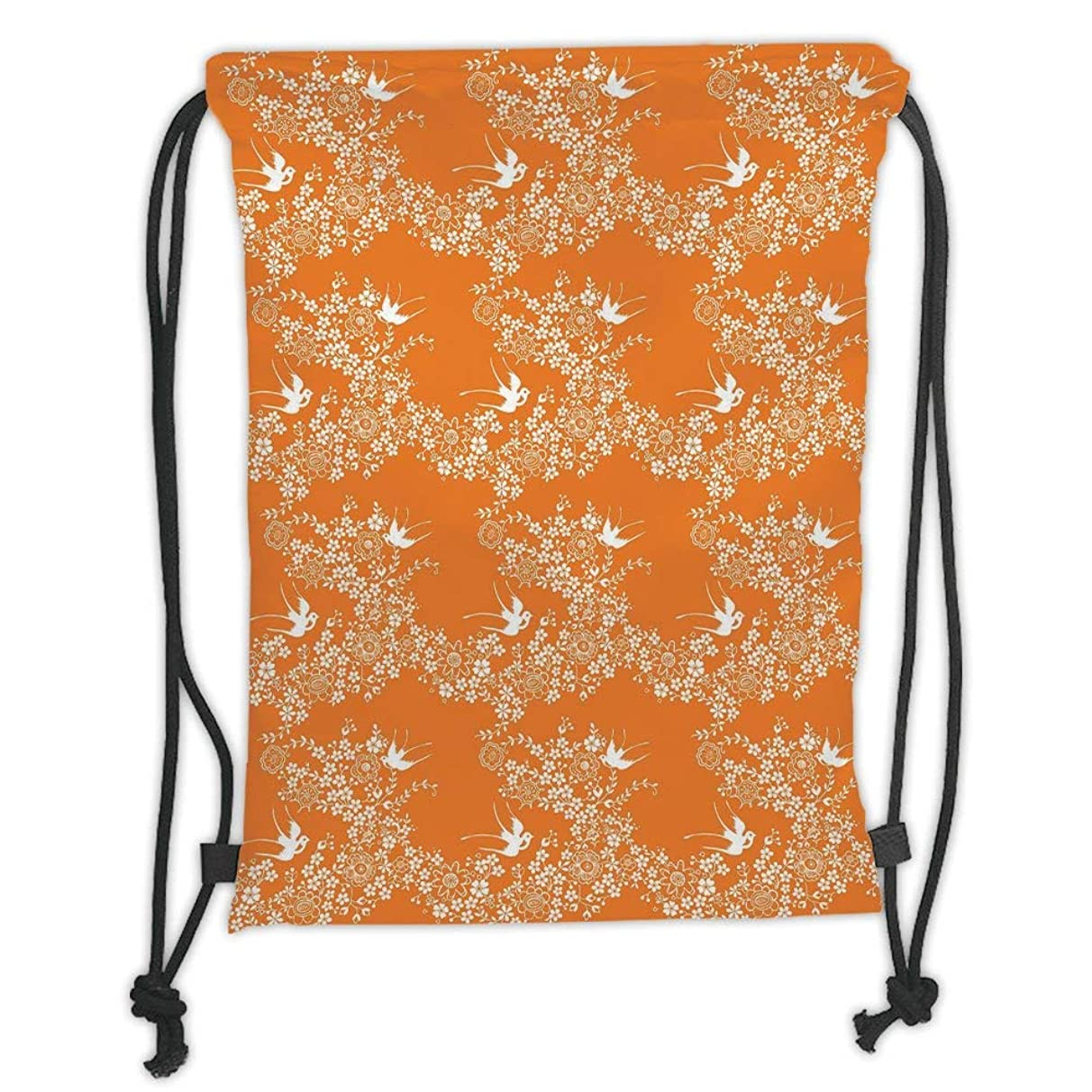 New Fashion Gym Drawstring Backpacks Bags,Orange,Asian Style Spring Meadow Pattern with Branches in Full Blossom with Birds Nature,Orange White Soft Satin,Adjustable String Closur