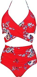 COCOSHIP Women's Ruching High Waist Bikini Set Cross Wrap Push Up Top Tie Back Bathing Swimsuit(FBA)