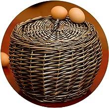 YAYADU Storage Basket Rattan Finishing Box Planted Willow Round Lid Dustproof High Capacity Vegetables Fruits Egg Toy Clot...