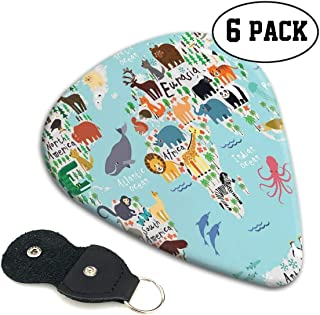 Guitar Picks 6 pcs,Educational World Map Africa Camel America Lama Alligator Ocean Australia Koala Print