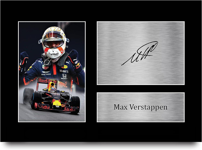 HWC Trading A4 MAX Verstappen Formula 1 Los Regalos Imprimieron La Imagen Firmada del Autógrafo para Los Fanáticos De Las Carreras De La Fórmula 1 De F1