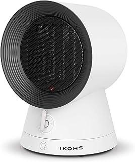 IKOHS Calefactor Kenny - Calefactor Cerámico Oscilante, 2000W, Calefactor de Aire Caliente PTC, 2 Modos de Potencia, Silencioso, Diseño Moderno, Portátil, Termostato, Autoapagado, Antivuelco(Blanco)