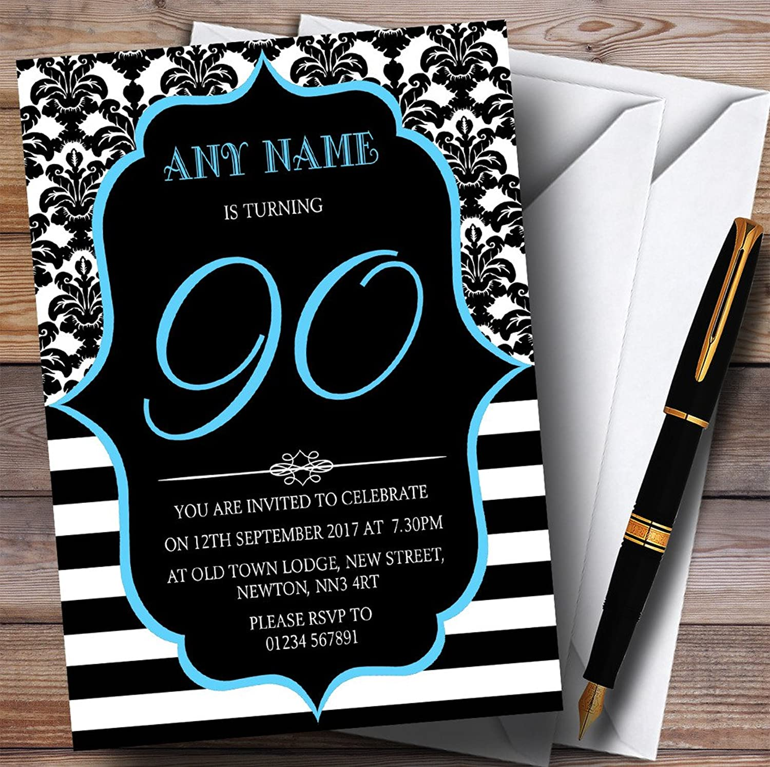 Vintage Damask bluee 90th Personalised Birthday Party Invitations