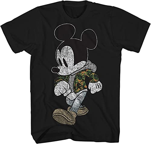 Mickey Mouse Camo Hyped Disneyland World Retro Classic Vintage Tee drôle Humor Adult Pour des hommes Graphic T-Shirt Apparel (Jet noir, XXXX-grand)