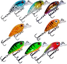 dukclyn Fishing Lure Crankbaits Hard Lures Topwater for Bass Trout Salmon Wobble Treble Hooks 3D Eyes Rattle 1.8in Set of 8